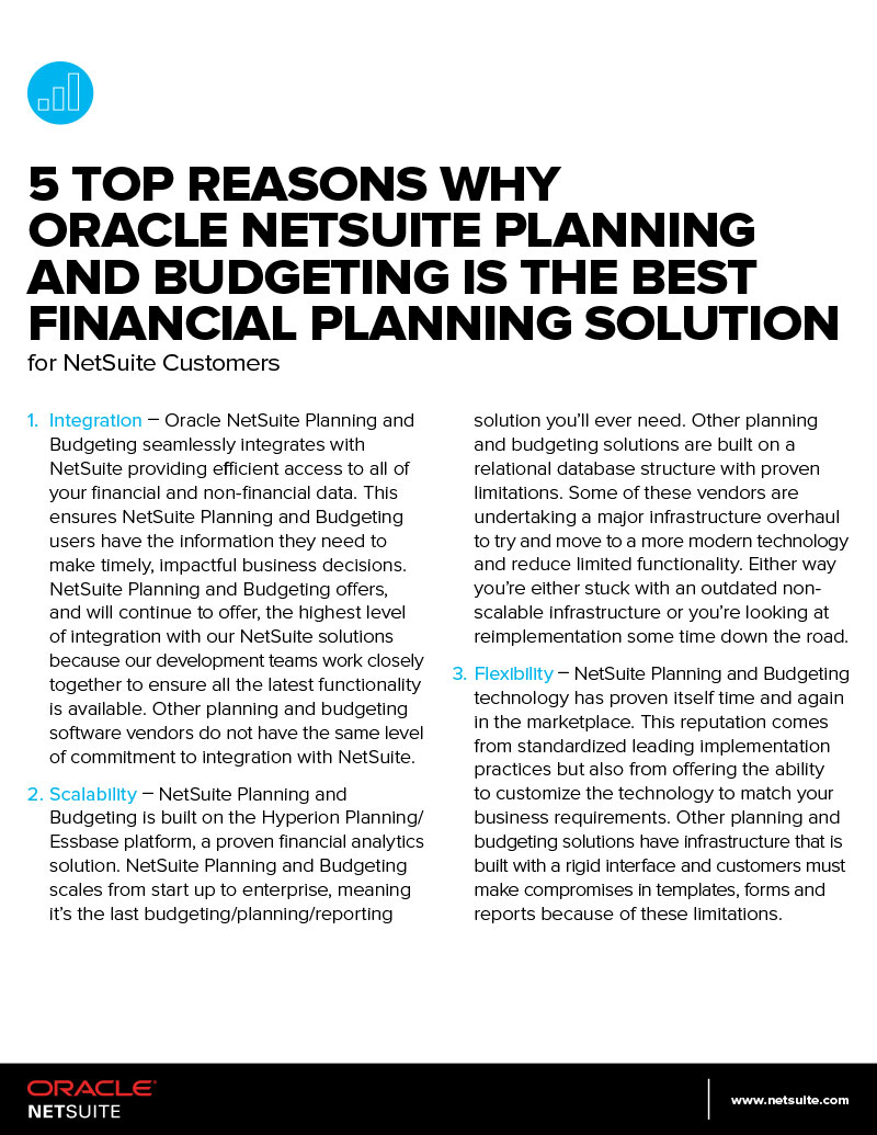 5 top reasons why Oracle NetSuite Planning and Budgeting is the best financial planning solution for NetSuite customers