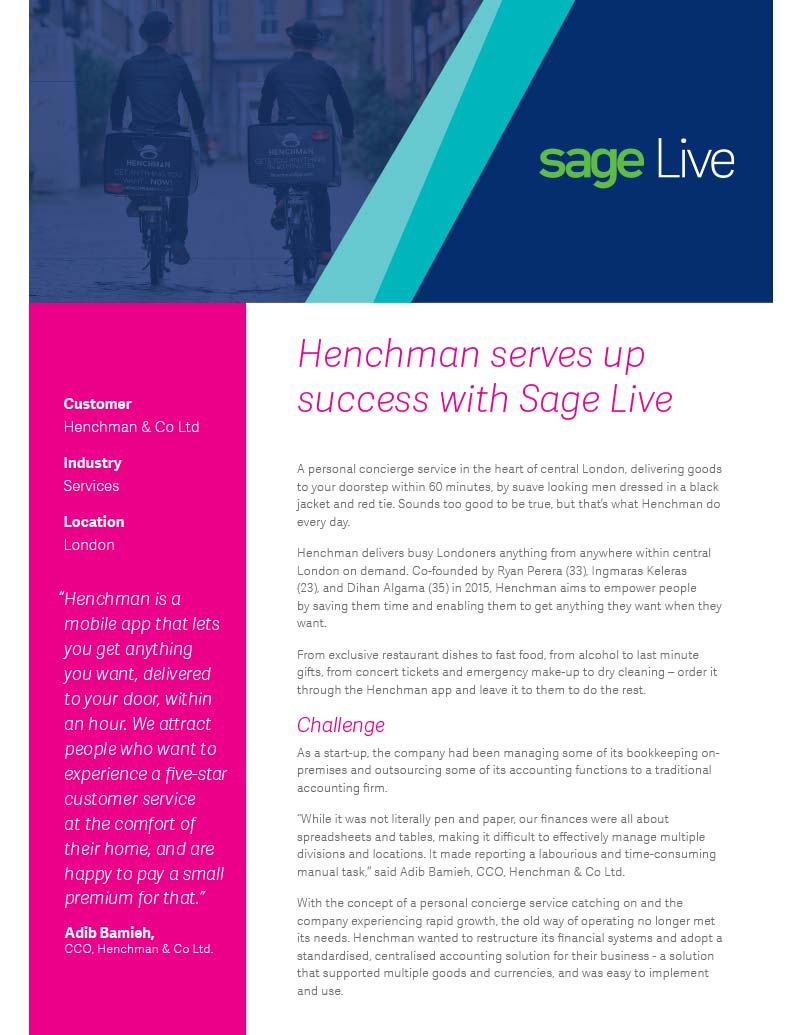 Henchman Sage Live Case Study - Sage Live Review - Sage Financials