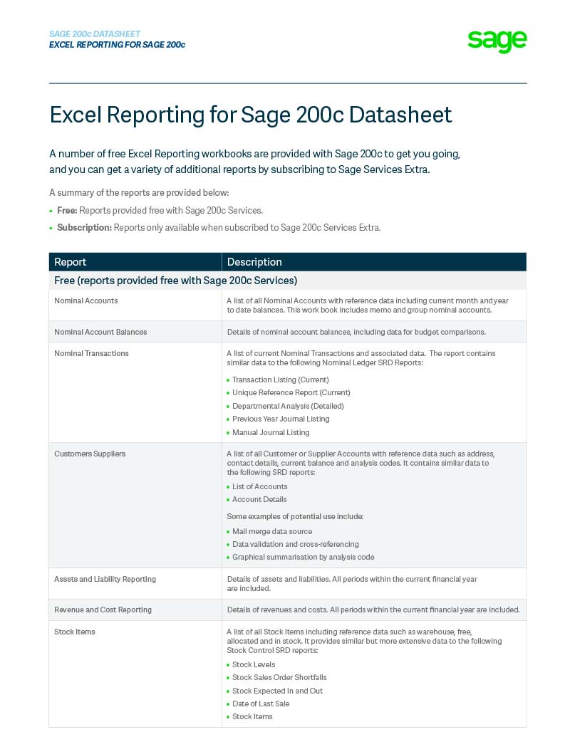Sage 200c Excel Reporting